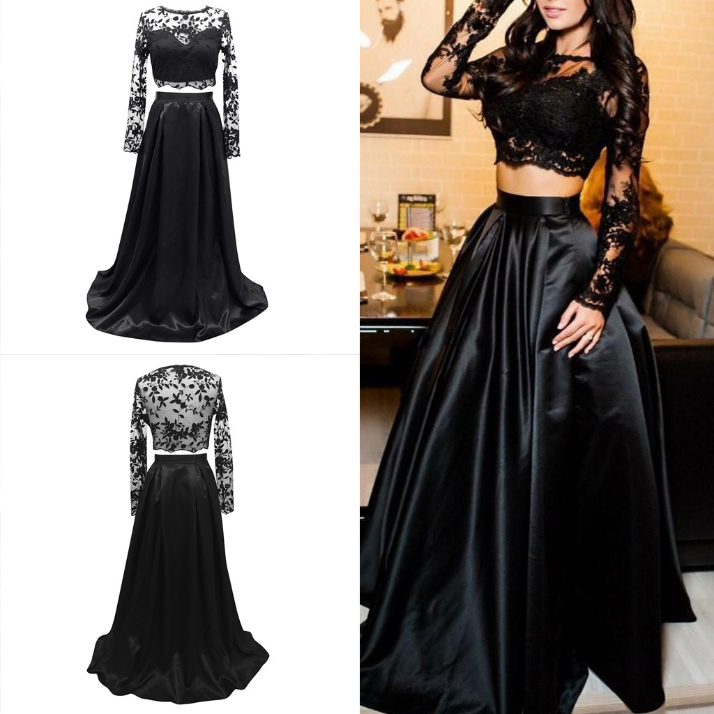blusas mujer de moda 2020 blouse women Lady Lace Splice Solid Long Sleeve Blouse Skirt Party Evening Dress Suit ropa mujer