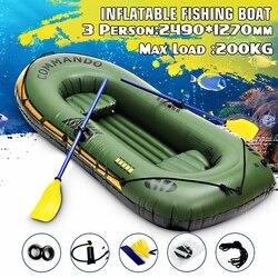 249X127 Cm 3 Persoon Opblaasbare Roeiboot Lager 200Kg Duurzaam Pvc Rubber Vissersboot Set Met Peddels pomp Andere Set