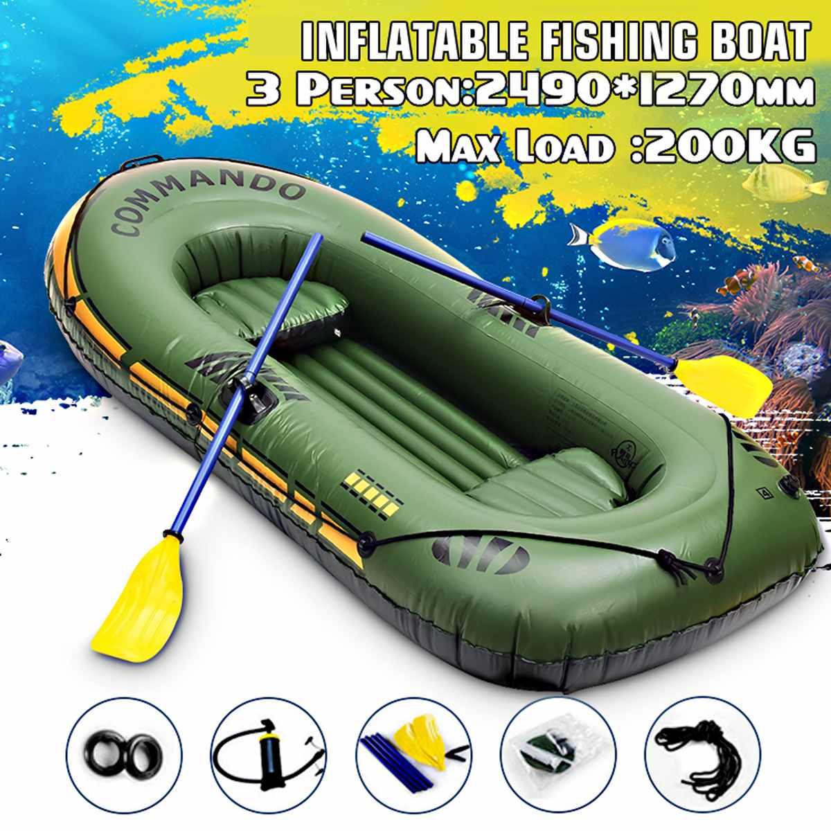 249x127cm 3 personne bateau à rames gonflable portant 200kg Durable PVC caoutchouc bateau de pêche ensemble avec palettes pompe autre ensemble