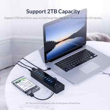 ORICO P10-U3 USB HUB 10 Ports USB3.0 HUB With VL812 12V3A External USB Splitter Adapter usb hub 3.0 for PC Laptop