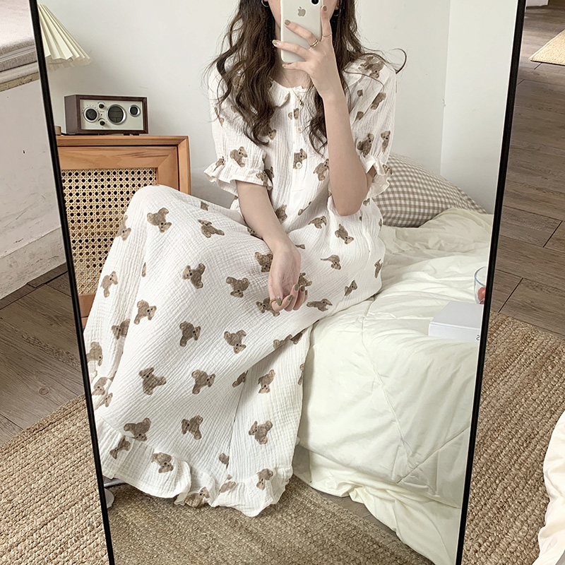 1819.0¥ 40% OFF Bear Cartoon Print Summer Nightgown Korean Soft Cotton Long Sleepwear Short Sleeve ...
