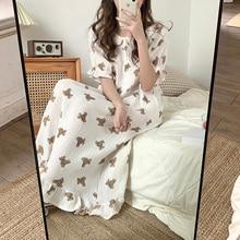 Bear Cartoon Print Summer Nightgown Korean Soft Cotton Long Sleepwear Short Sleeve Ruffles Nightdress Buttons Kawaii Homewear