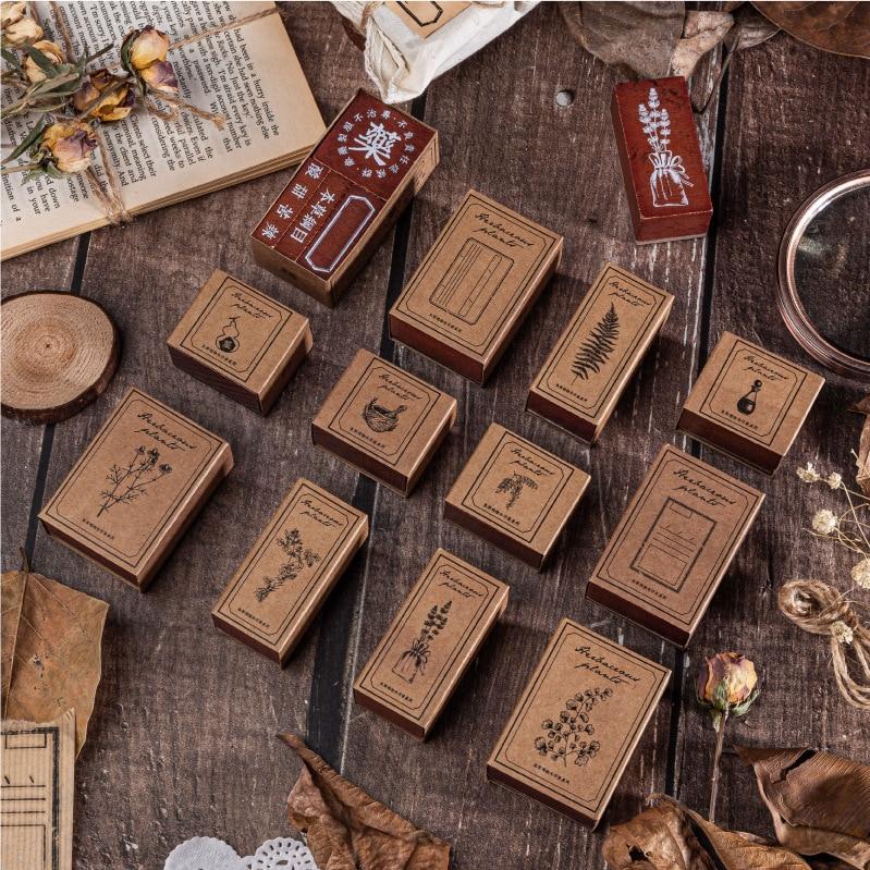 Moon Stamp Rubber Stamps For Scrapbooking Stationery Scrapbooking Standard Stamp DIY Wooden Vintage Plants Ginkgo Star