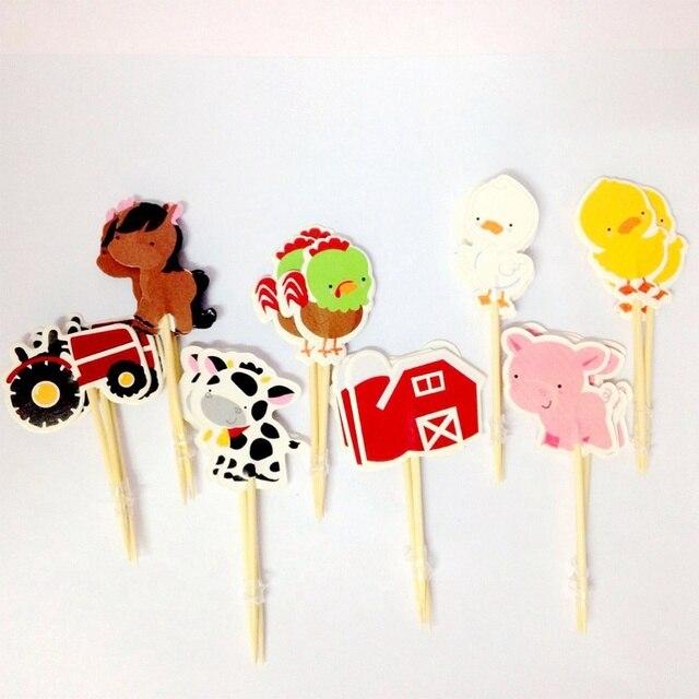 24 pièces animaux ferme gâteau Cupcake Toppers Adorable mignon gâteau décoration fournitures pour fête anniversaire