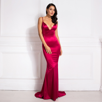 Deep V-Neck Burgundy Cut Out Sling Mermaid Dress Bodycon Floor Length Open Back Stretch Satin Evening Party Dress burgundy cut out cold shoulder v neck mini dress