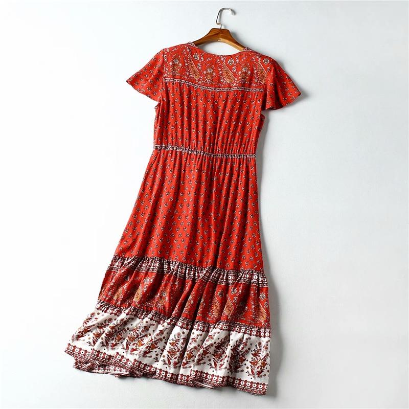 Image 2 - Vintage chic women Red Floral print  beach Bohemian rayon maxi dresses Ladies V neck botton Boho pleated robe vestidosDresses   -