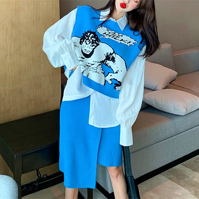 3 Pieces New Fashion Spring Autumn Cute Knitting Skirts Suits Women's Loose Blouses Cartoon Vest And Irregular Skirt Set NS585