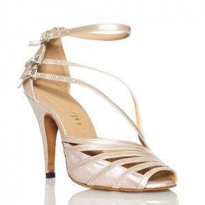 Image 4 - Groothandel Retail Salsa Schoen Koe Suede Hoge Hak Bruiloft Schoenen Zwart Naakt Grijs Kleurrijke Vrouwen Satijn Latin Ballroom Dans schoenen
