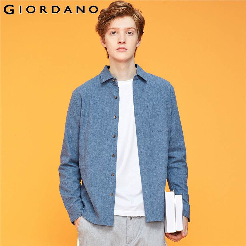 Giordano Men Shirts Flannel Long-sleeve Slightly Thick Shirt Chest Single Pocket Soild Color Camiseta Hombre 13049803