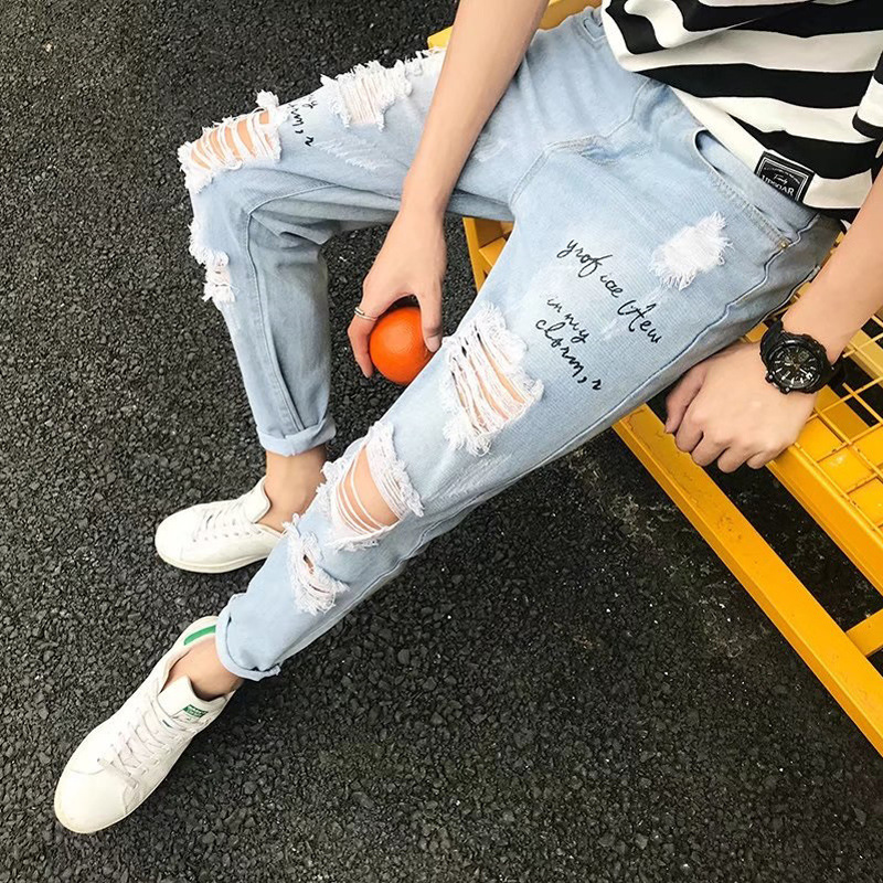 Large With Holes Jeans Men's Korean-style Trend Scraping Rotten Loose Hip Hop Super Vulnerability Beggar South Korea BF Style Ca