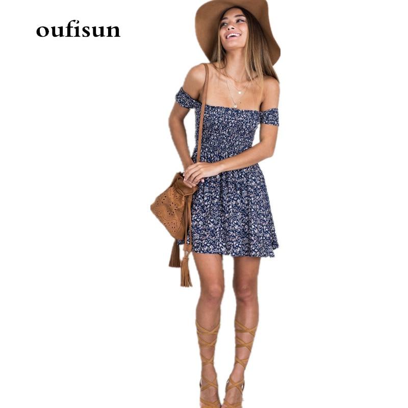 Women Floral Print Short Dress Sexy Slim Elegant Beach Dresses Fashion Off-Shoulder Summer 2019 Short Sleeve Party Dress Vestido