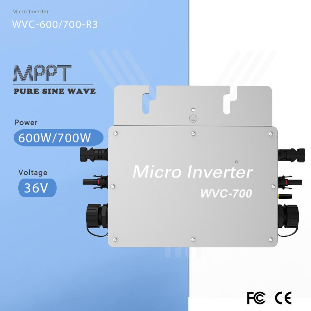 Grid Tie Inverter MPPT 600W/700W Power Voltage Converter Pure Sine Wave 36V DC Transfer to 120V/230V AC With WIFI Communications