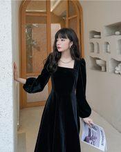 Vestido de Primavera de talla grande S-Xl, liso, Vintage, de terciopelo, manga larga