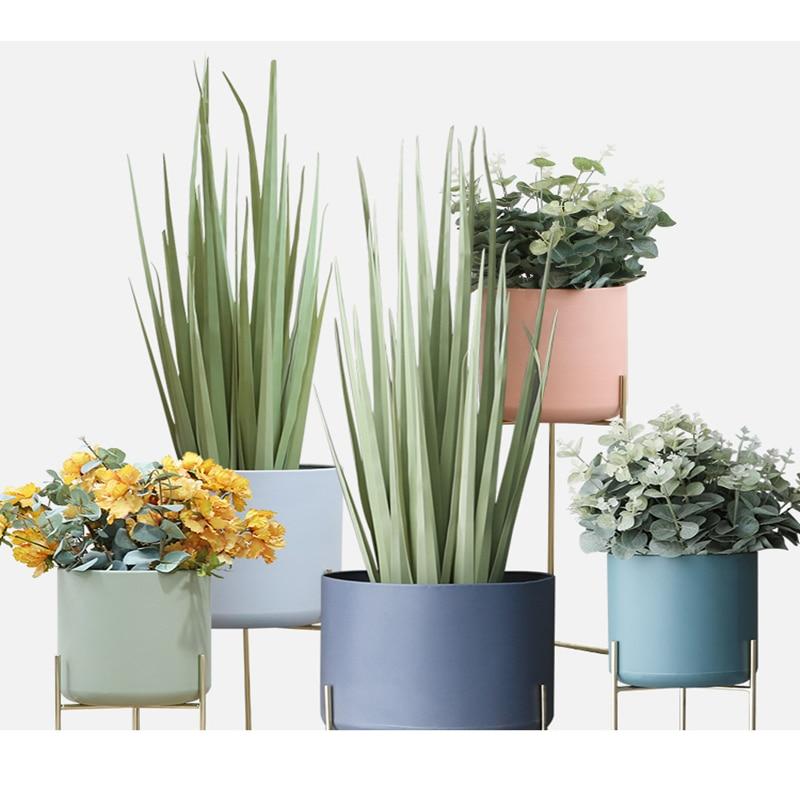 Creative Nordic Wrought Iron Flower Shelf Balcony Living Room Interior Floor-standing Simple Home Flower Pot Green Flower Stand