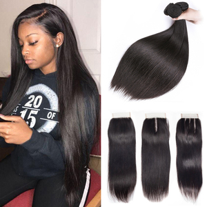 Brazilian Straight Hair Bundles With Closure 3 Pcs Human Hair Bundles With Closure Hair Extension Non-remy Fashion Queen(China)