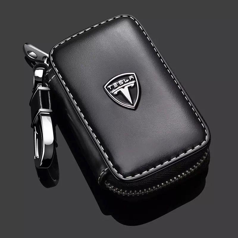 New Leather Car Key Case Cover For Tesla Model S Model X Model 3 Key Wallet Zipper Key Case Bag Key Holder Man KeyChain Covers
