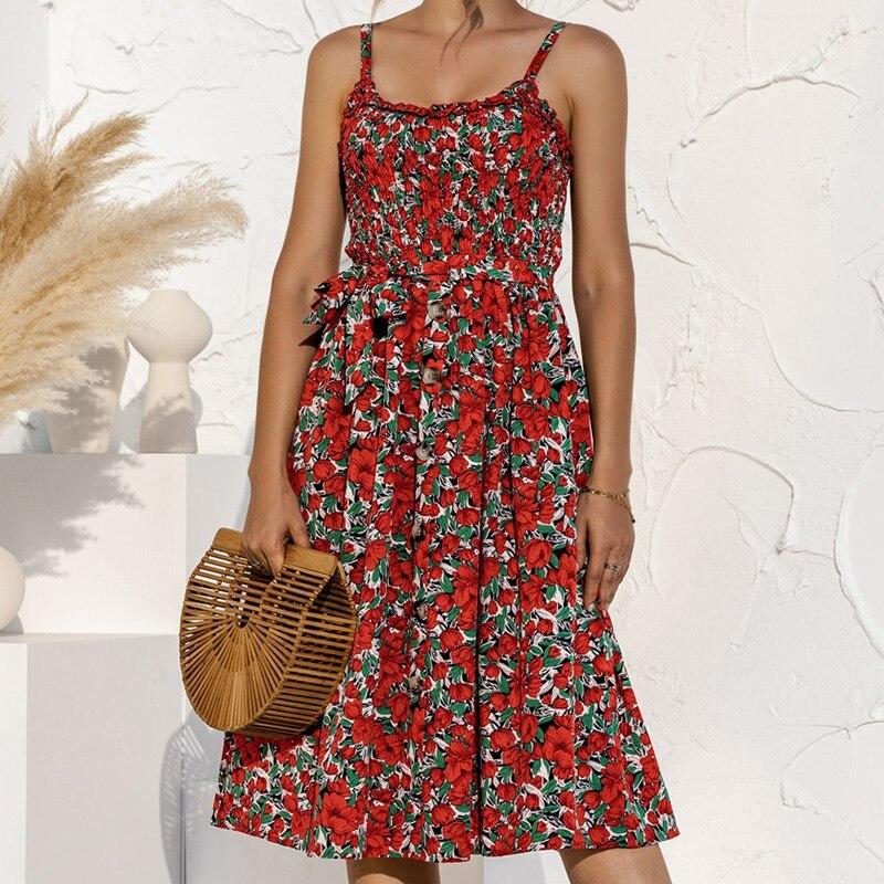 Sexy Backless Polka Dot Summer Dress Women Bow Button Sleeveless Spaghetti Strap Loose Pleated Casual Midi Sundres Vestidos 2021