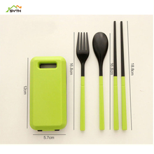 ABS plastic cutlery three-piece set Portable travel Folding combination chopsticks fork spoon Activity gift