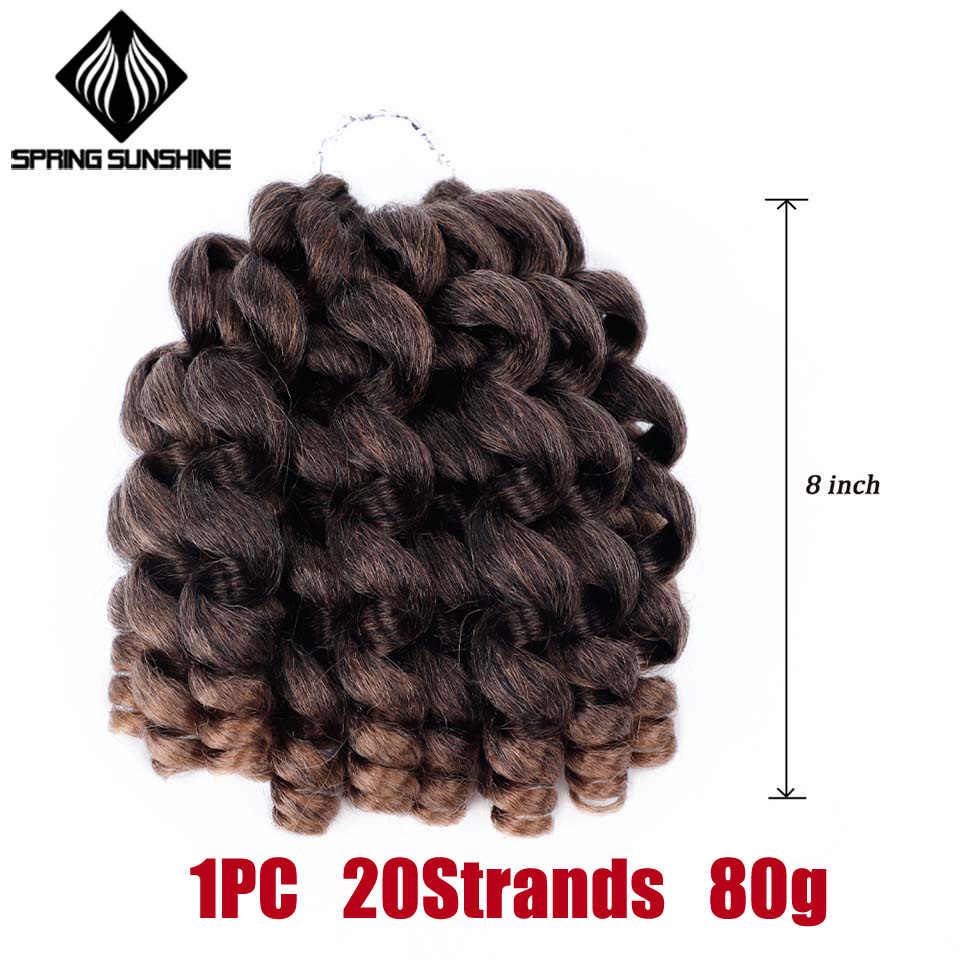 Ombre nervioso varita Curl Crochet trenzas pelo jamaicano curvatura de rebote pelo trenzado sintético extensión para las mujeres negras de 8 pulgadas 20strands