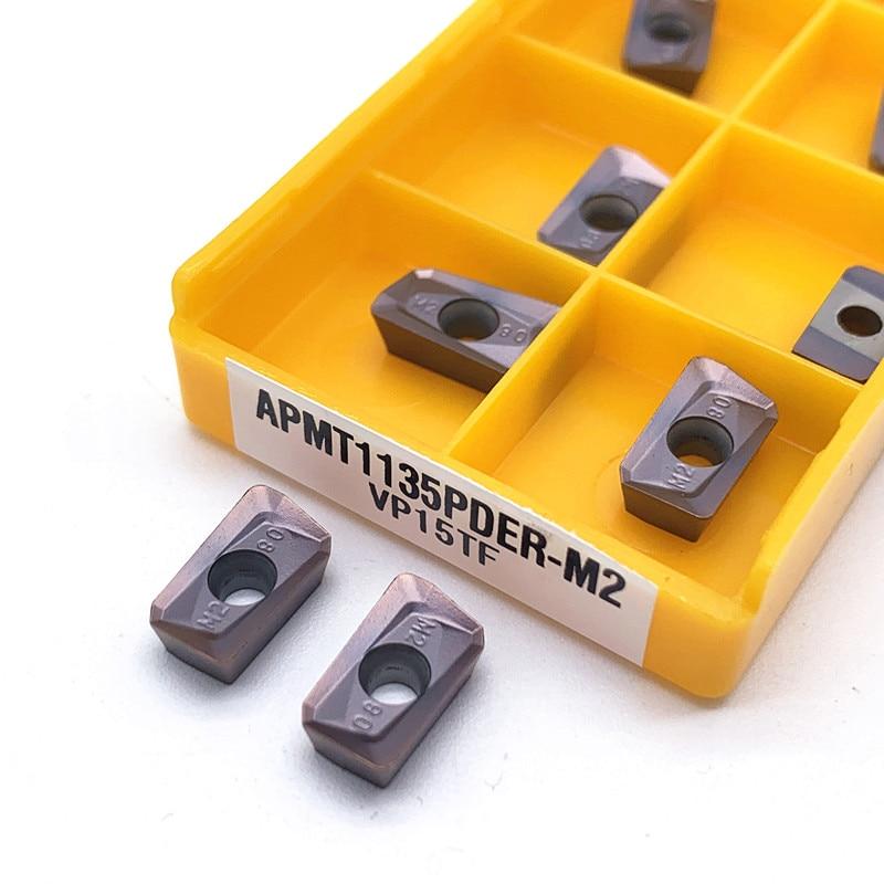10PCS APMT1135 PDER M2 VP15TF/APMT1135 PDER H2 VP15TF Turning Tool Carbide Inserts Cutting Tool Metal Lathe CNC Milling Cutter