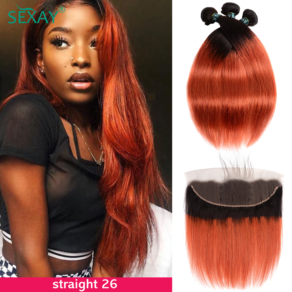 SEXAY Burnt Orange Lace Frontal With Bundles Ombre Brazilian Straight Hair 1B/350 Remy Human Hair Bundles With Frontal Closure