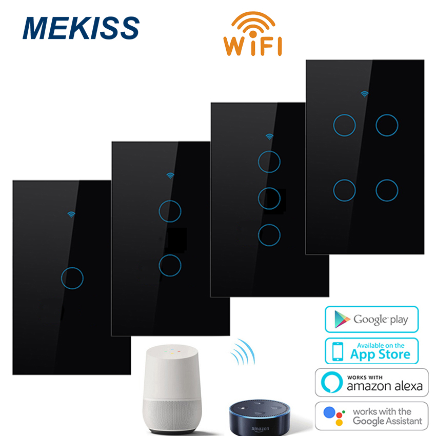 MEKISS Smart-Touch-Switch Interrupter WIFI 1gang2gang3gang4gang AC110V220V Network-Connection-App