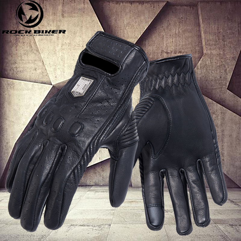 ROCK BIKER Retro Style Leather Motorcycle Gloves Touch Screen Waterproof Off-road Riding Long Finger Riding Gloves Luva Moto XXL