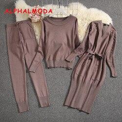 ALPHALMODA 2019 Winter Women Warm 3pcs Knitting Suits Long-sleeved Pearl Cardigans + Sweater + Trousers Ladies Fashion 3pcs Set