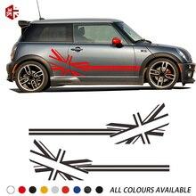 2 шт. флаг Юнион Джек Стайлинг двери автомобиля боковые полосы наклейка на тело наклейка для MINI Cooper S R50 R52 R53 JCW аксессуары