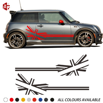 2 Pcs Union Jack Flag Styling Car Door Side Stripes Body Decal Sticker For MINI Cooper S R50 R52 R53 JCW Accessories 2pcs set door rear view mirrors cover case sticker decal car styling for mini cooper one s r50 r52 r53 2002 2006 accessories