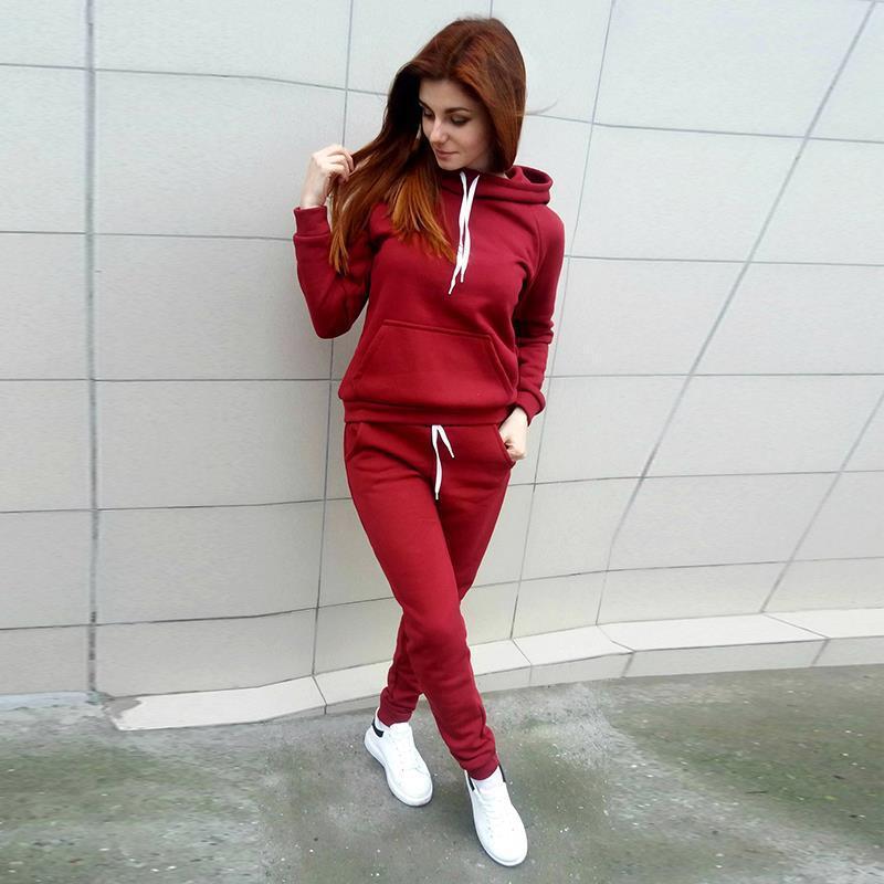 2 Pieces Suit Women Autumn Winter Hoodies Sweatshirt + Pant Sportwear Solid Pocket Tracksuit Set Casual Sweat Suit Jogging Set