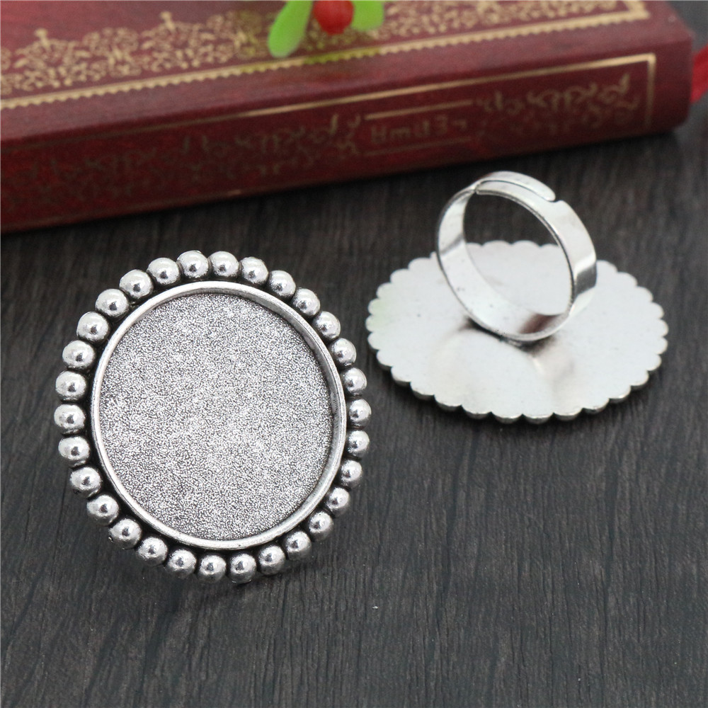 25mm 4pcs Antique Silver Plated Brass Adjustable Ring Settings Blank/Base,Fit 25mm Glass Cabochons,Buttons;Ring Bezels K1-04