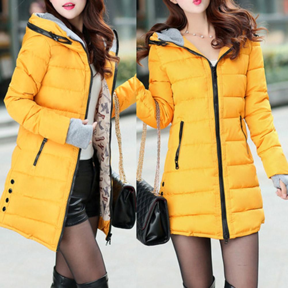 Hot Women Long Sleeve Pockets Zipper Waist Tight Cotton Padded Warm Hooded Coat