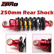 TDPRO 980LBS 9.8 250mm Motorcycle Rear Shock Suspension Absorber Fit 50cc-160cc ATV Quad 4 Wheeler Buggy Scooter Dirt Pit Bike tdpro 285mm 11shock absorber rear suspension for motorcycle pit dirt pocket bike atv quad buggy