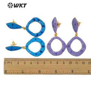 Image 5 - WT RE090 Natural Stone Earring With colorful Rhinestone Pave Gold Electroplated Cute Young Drop Earring Fashion  Jewelry