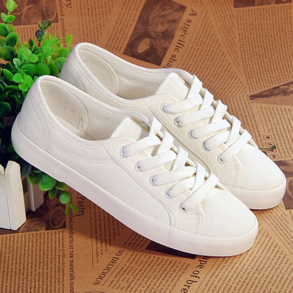 Summer Lace-up White Shoes Women Canvas Breathable Female Casual Shoes Sneakers Ladies Flat Shoes