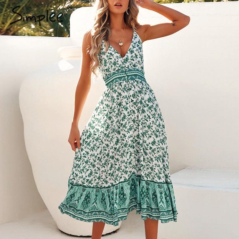 Simplee Women Sleeveless Summer Dress Floral Print High Waist Boho Dress Spring Streetwear Ladies Cotton V-neck Long Sexy Dress