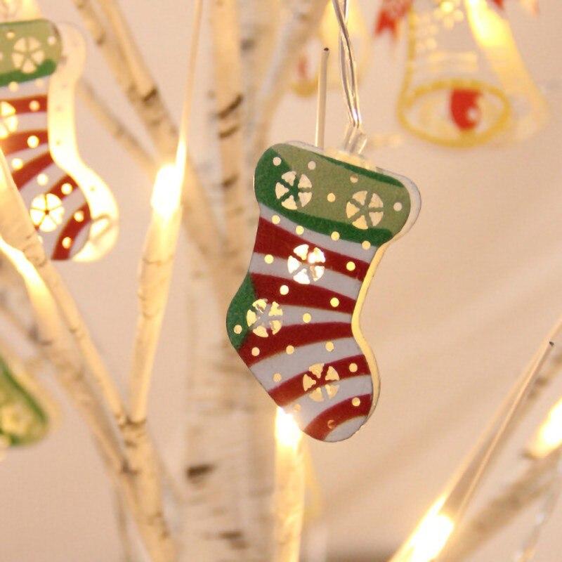 Christmas Snowman Wrought Iron Lighting Santa Claus Bell Deer Lantern Xmas Festival Led Light String Lights Decoration
