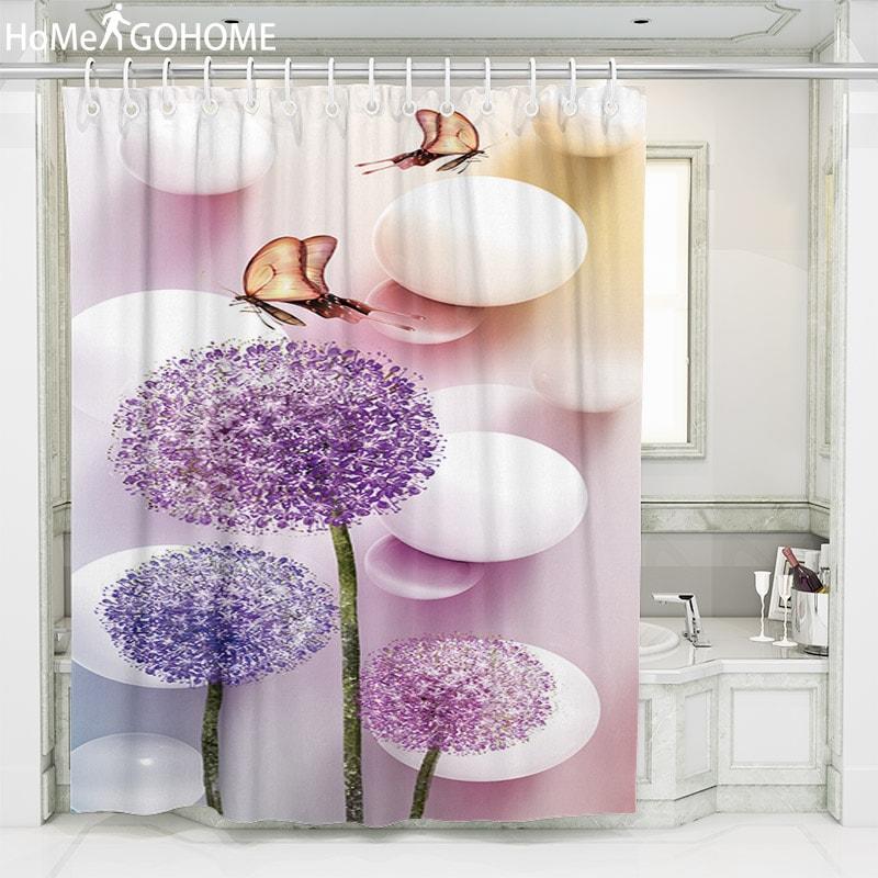 12 Hooks Shower Curtain Art Bathroom Decor set 3D print Bath Creative Curtains