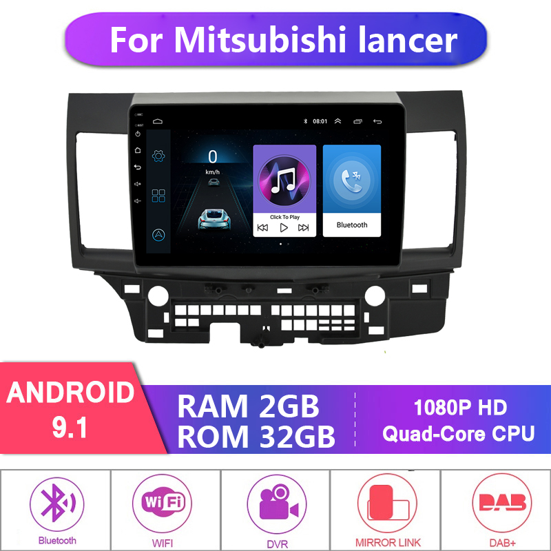 2G + 32G 2 Din Android 9.1 for Mitsubishi Lancer 2007-2018 Car Radio Multimedia Video Player Navigation GPS 2din 10 inch No DVD image