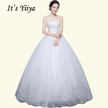 Wedding Dress 2020 It's Yiiya BR674  Elegant Plus Size Wedding Dress Boho Strapless Lace Bridal Ball Gowns Vestido De Noiva