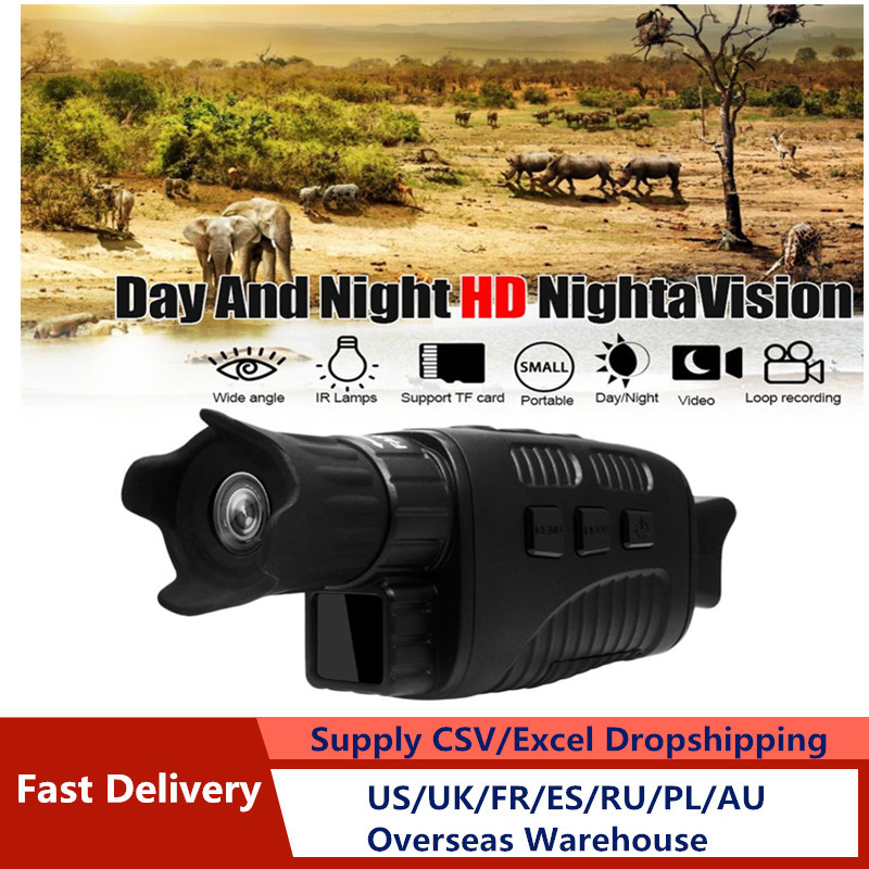Full Black Night Vision Device Infrared Detection 300m  Visible 10 Times Magnifying Glass Tft Telescope Single Tube