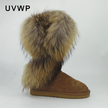 Winter Boots Shoes Female Genuine-Leather Fashion Top Lady Real-Fox-Fur Warm Natural