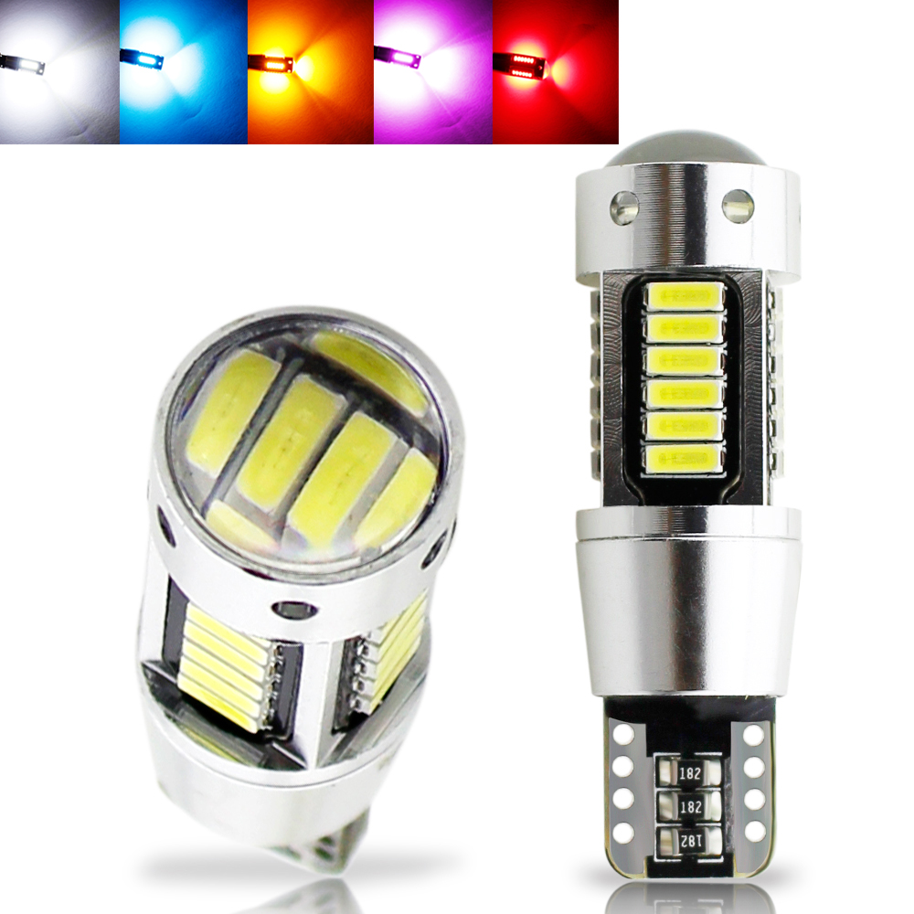2pcs <font><b>W5W</b></font> <font><b>T10</b></font> LED <font><b>Canbus</b></font> <font><b>4014</b></font> SMD Lens Bulb 194 168 White Yellow Red Ice Blue Car Dome Reading Trunk Lamp Clearance lights 12V image