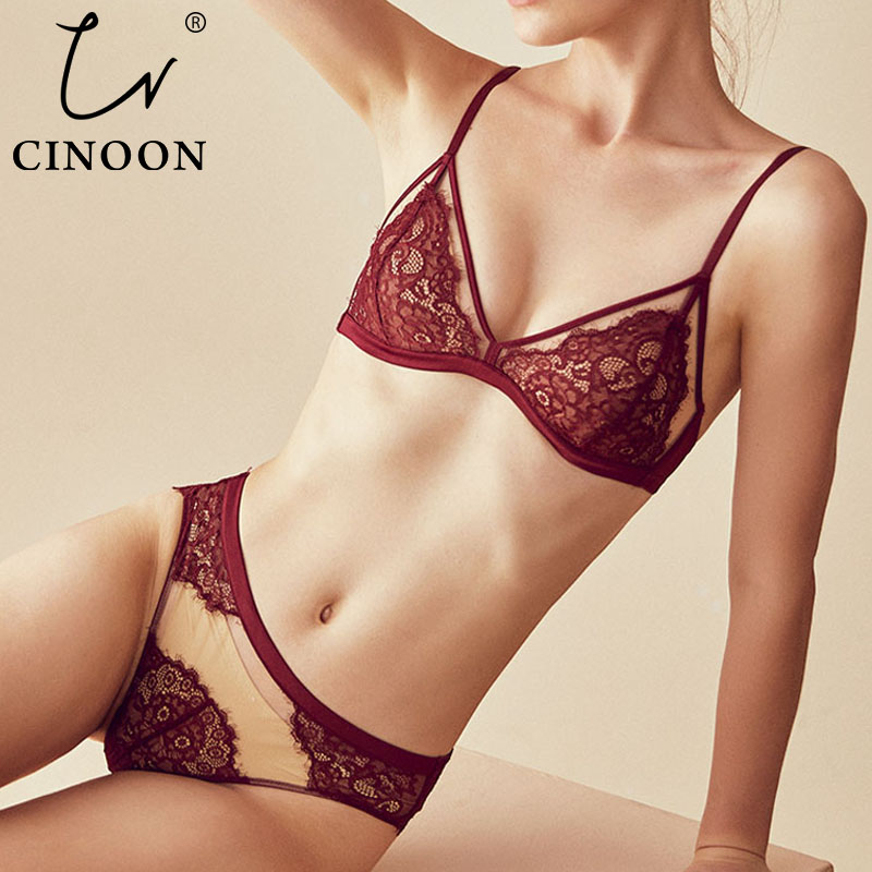 CINOON Sexy Lace Women Lingerie Embroidery Lace Underwear Sets High Quality Bra Set 3/4 Cup Brand Sexy Intimates Bra & Brief Set