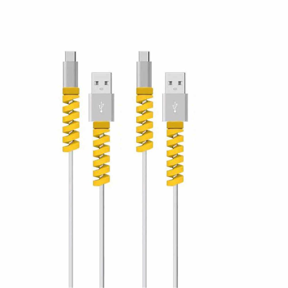 4pcs Protector Cable espiral línea datos bobinadora silicona protectora para iphone Samsung Android USB funda carga auriculares