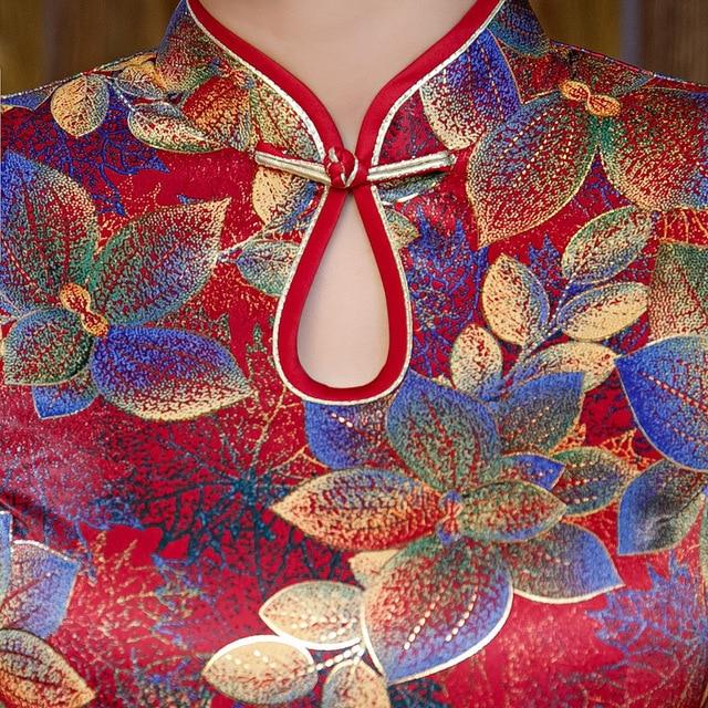 Plus Size 4XL Women Oriental Retro Cheongsam Summer Print Floral Elegant Evening Dress Vintage Chinese Robe Costume Slim Qipao