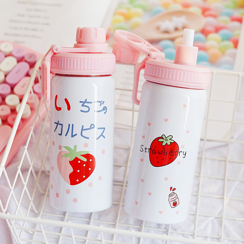 Image 3 - 400ML Cute Pink Strawberry Water Bottle New Kawaii Stainless Steel Thermos Bottle With Straw Birthday Gift For Girl WomenVacuum Flasks & Thermoses   -