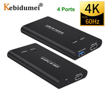 4 Ports 4K 60Hz USB3.0 HDMI Video Capture Card HDMI to USB Video Capture Dongle Game Streaming Live Stream Broadcast with Mic