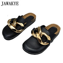 Female Shoes Chain-Decor Lazy-Loafers Casual Slippers Flat-Mules Gold Genuine-Leather